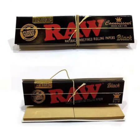 RAW Connoisseur Χαρτάκια Black King Size Slim Με Τζιβάνα